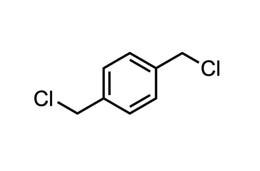α,α'-ジクロロ-p-キシレンの構造式