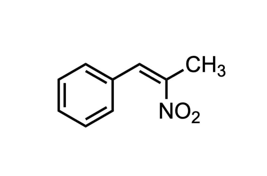 1-(フェニル)-2-ニトロ-1-プロペンの構造式