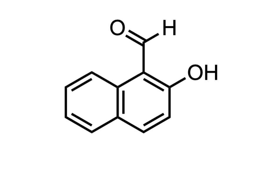 2-ヒドロキシ-1-ナフトアルデヒドの構造式