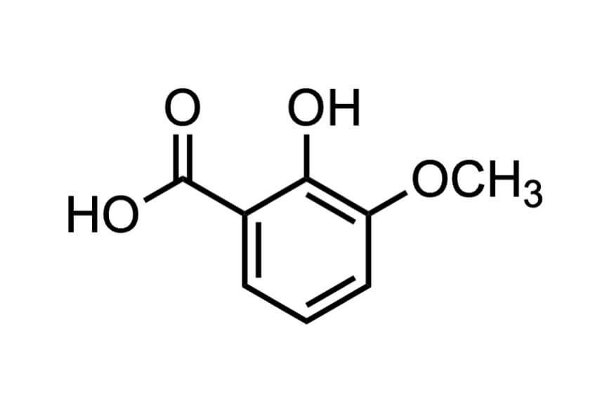 3-メトキシサリチル酸の構造式