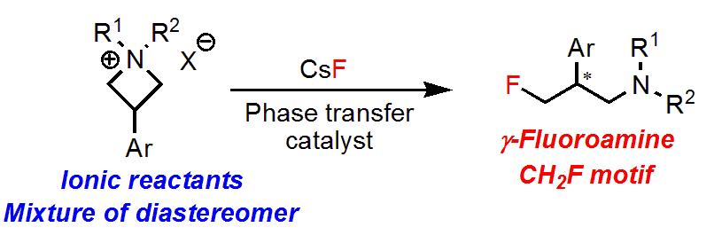 イオン性原料を用いた𝛾-フルオロアミンの不斉合成