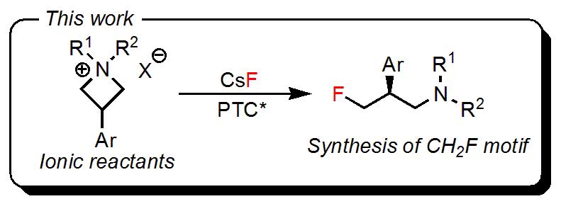 イオン性原料、相間移動触媒を用いた𝛾-フルオロアミンの不斉合成
