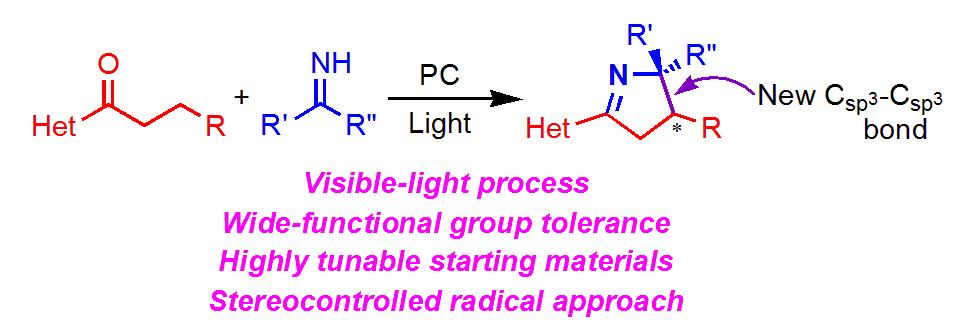 光照射によるエナンチオ選択的ピロリン合成反応